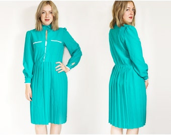 SALE 80s Secretary Dress | Vintage Dress | Pleat Skirt Dress | Formal Dress | Teal Green Dress | Collar Dress - Size M Medium