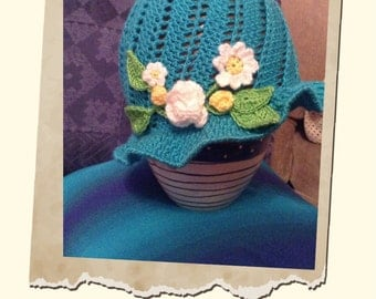 Flower crochet hats