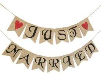 Wedding Banner JUST MARRIED WEDDING Banner Rustic Wedding Banner Custom Wedding Garland Wedding Decoration Spring Wedding Mr and Mrs Banner