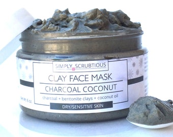 ACTIVATED CHARCOAL Clay Face Mask-Facial Mask-Coconut Face Mask-Face Cleanser-Mud Mask-Charcoal Mask-Coconut Face Scrub- 6 oz.