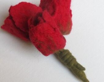 Red Tulips Wool Brooch, Wool Brooch, Flower Brooch