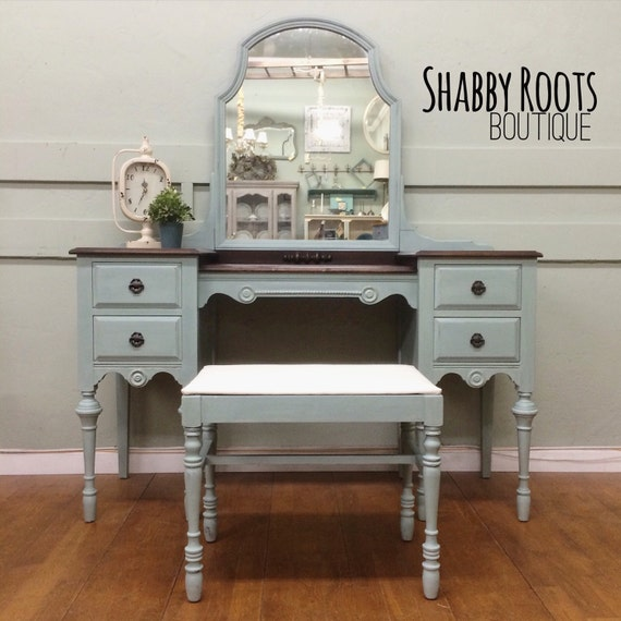 Like this item? - SOLD Antique Vanity Set Duck Egg Blue With Stained Wood Top