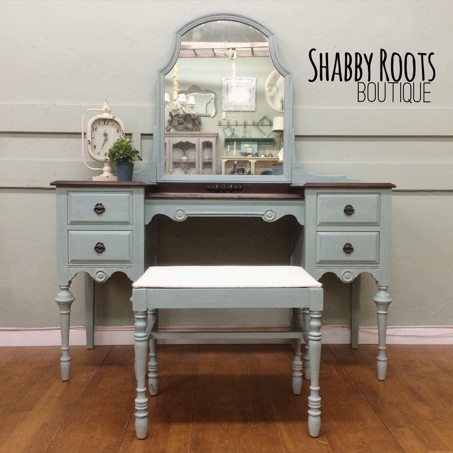 🔎zoom - SOLD Antique Vanity Set Duck Egg Blue With Stained Wood Top