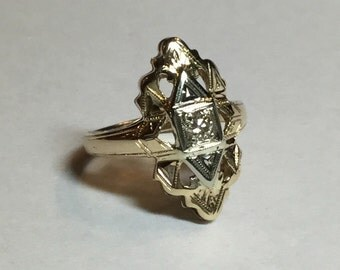Vintage Art Deco 14k Yellow Gold Diamond Open Work Ring