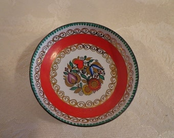 Austrian Hand Made Ring Dish Plate, Trinket Dish, Gold Hand Painted Enameled Porcelain Mini Dish from Austria