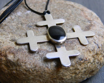 Vintage Sterling Silver & Onyx Cross Pendant