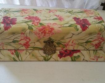 Antique Victorian Celluloid Vanity Dresser Box Carnations, Vintage Dresser Box