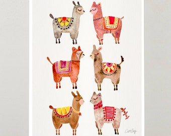 "Alpacas – Signed Watercolor Painting Print by CatCoq. Artwork Printed on 8.5""x11"" High-Quality Archival Epson Paper. Alpaca, animals, Peru"