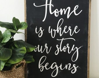 24 x36 - Home is where our story begins | Rustic Decor | Painted Wood Sign | Home Decor | Wall Art | Home Decor | Farmhouse | housewarming
