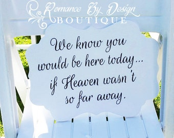 We know you would be here today Remembrance Wedding Sign