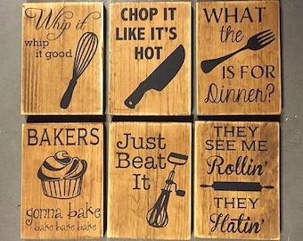sign bundle (all six), fun kitchen decor, wooden signs, kitchen humor, kitchen decor, housewarming gift, conversation piece, home decor