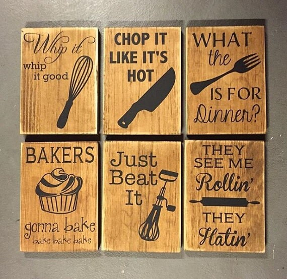 sign bundle all six fun kitchen decor wooden signs