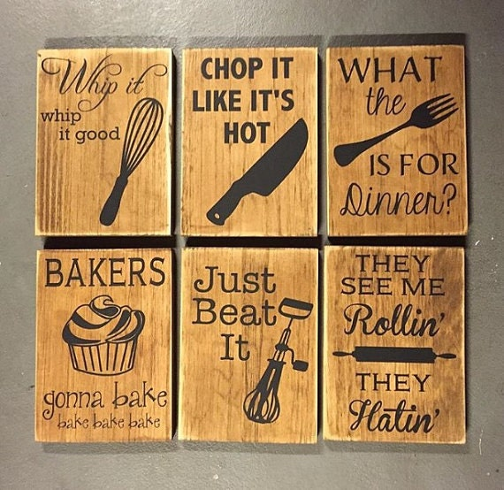 Light Up Kitchen Signs: Sign Bundle All Six Fun Kitchen Decor Wooden Signs
