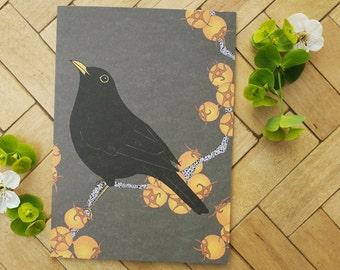 Blackbird & king hawthorn greetings card