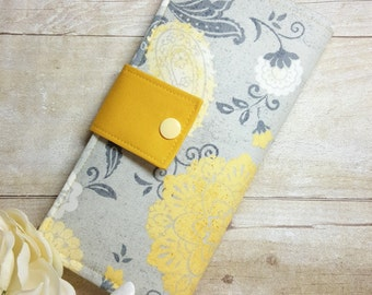Floral mustard gray bifold wallet, womans clutch wallet, bifold wallet, credit card, money, checkbook wallet, handmade fabric wallet