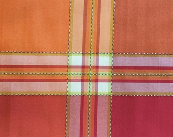 Textured Plaid - Orange - Pink - Drapery Fabric