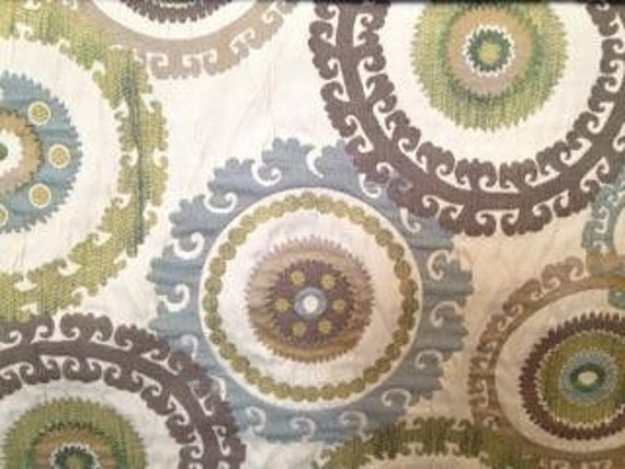 Home Decor Fabrics By The Yard: Large Suzani Brown, Blue, And Lime Upholstery Fabric