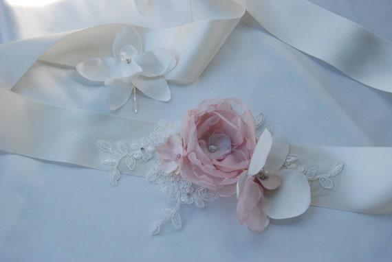Ivory and blush floral bridal sash;orchid and rose flower sash;flower bridal belt