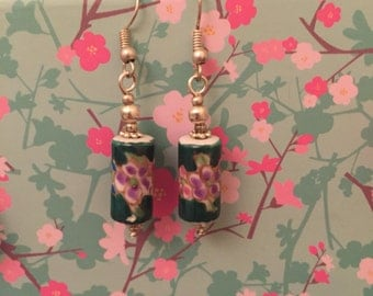 Green Chinese decal drop earrings