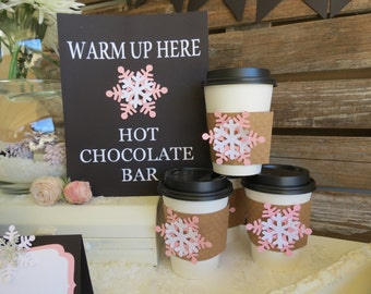 Hot Chocolate Bar Sign, Winter Baby Shower Sign, Snowflake, Party Decorations