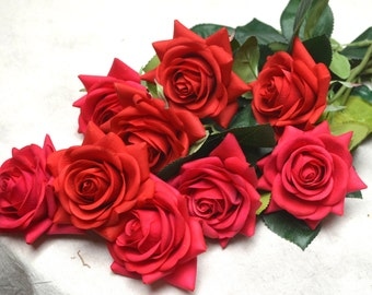 Red Real Touch Silk Latex Roses Wedding Flowers DIY Silk Bridal Bouquets Wedding Centerpieces