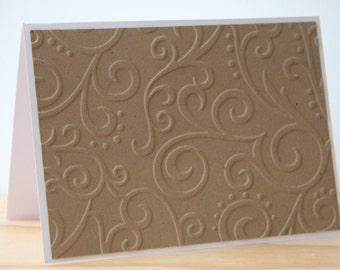 10 Kraft Embossed Note Cards. Embossed Scroll Cards. Rustic Wedding Thank You Cards. Country Wedding Thank You Cards