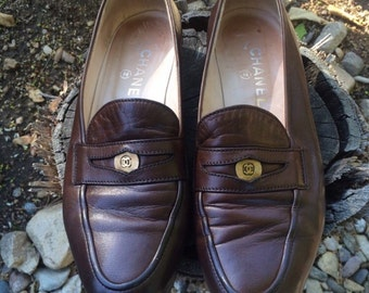 Vintage Chanel Dark Brown Leather Penny Loafers