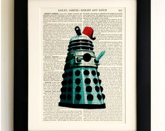 FRAMED ART PRINT on old antique book page - Dalek with Fez, Doctor Who, Vintage Upcycled Wall Art Print Encyclopaedia Dictionary Page