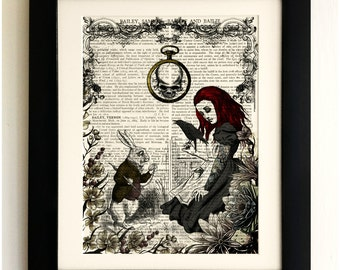 ART PRINT on old antique book page - Goth Alice in Wonderland, White Rabbit, Vintage Upcycled Wall Art Print, Encyclopaedia Dictionary Page