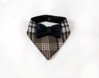 Plaid Bandana Bib - Brown Plaid Bib - Bowtie Bib - Bibdana - Dribble Bib - Unique Baby Shower Gift - Hipster Baby Bib - First Birthday Gift