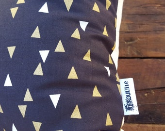 Gold triangles . pillow cover . gold black and white . triangle cushion . modern decor