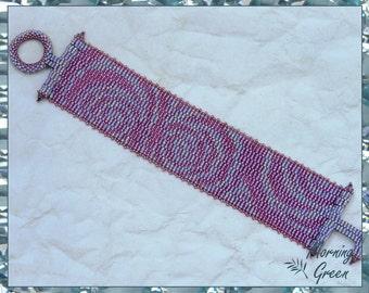Pink Rose Peyote Bracelet, Mauve and Pink Delica Seed Bead Bracelet
