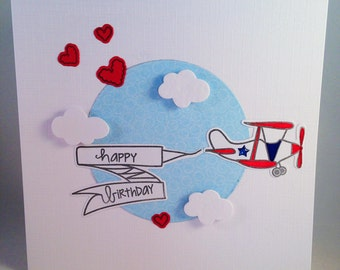Birthday Card - Aeroplane - Airplane - Aircraft with Happy Birthday Banner