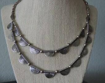Silver Scallop Necklace,  Double Strand Silver Necklace,  Silver Metal Necklace,