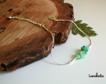 Amazonite. Silver bracelet. Beaded bracelet.