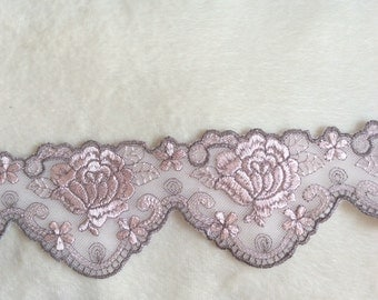 1m pink and grey floral embroidered mesh tulle lace trim double scallops 6.5cm width