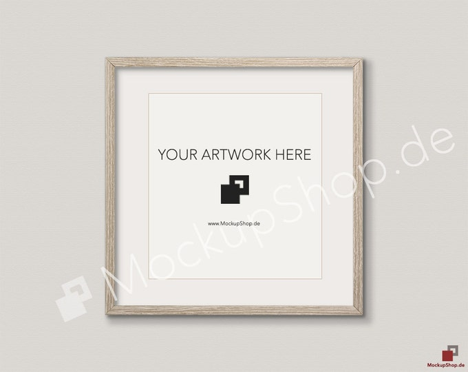 SQUARE MOCKUP FRAME on beige wall, Frame Mockup, Amazing brown photo frame mockup, Digital Download Square Frame Mockup