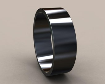 Black Silver 7 Mm Mens Flat Wedding Band Oxidized Classic Rectangle Ring Gray