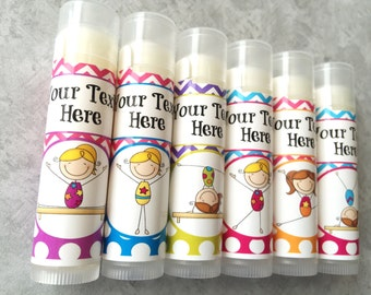 Gymnastics Party Favors/ Set of 5 /Gymnastics/Party Favors/Girl Birthday Party/Lip balm/Chapstick Party Favor/Gift Bags