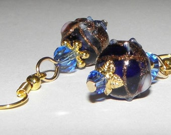 1 pair of golden earrings Indigo Blue Czecg glass beads and Swarovski crystals