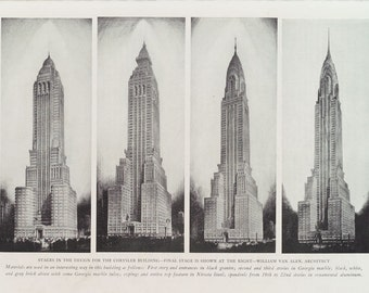 Visualisation of the successive stages in design of the Chrysler Building, New York.