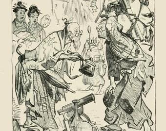 Gulliver's Travels - Voyage to Laputa. Illustration by Thomas Morten