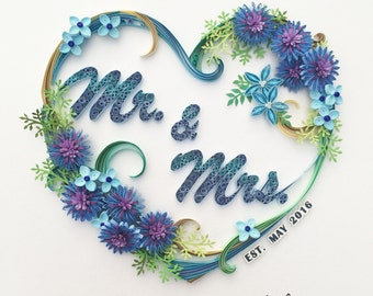 Handmade paper quilling - Mr. & Mrs., made to order, framed in shadow box, wedding gift