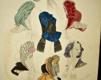 Fabulous 1850's Fashion Hat Bonnet Hand Colored Page Journal de Modes Paris Magazine
