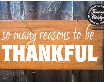 Autumn decor, fall decor, Thankful sign, autumn sign, fall sign, thanksgiving sign, holiday sign, so many reason to be thankful sign