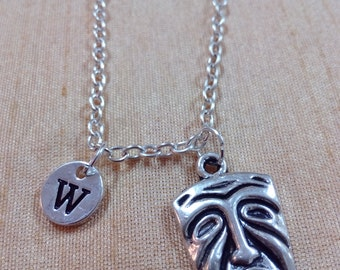 KIDS SIZE -Drama mask charm necklace - drama jewelry, gift for actress, theater jewelry, comedy tragedy mask necklace, theater necklace
