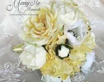 Yellow Rose Bouquet - Yellow Silk Rose Bouquet - Rose and Peony Bouquet - Pale Yellow Bouquet - Pastel Yellow Bouquet - Yellow and White