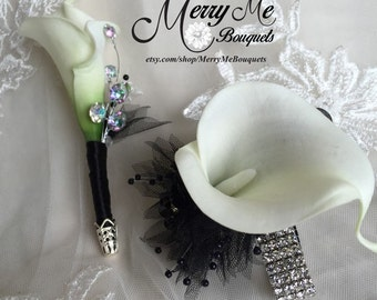 Black and White Corsage - Black and White Boutonniere Set - Black and White Calla Lily Boutonniere - Calla Lily Wrist Corsage