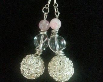 Silver wire wrapped Glass bead, rosequartz and drop earrings.