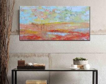 Modern Painting Original Oil Painting Abstract Canvas Art Framed Art Landscape Painting Abstract Art Livingroom Wall Art Contemporary Art